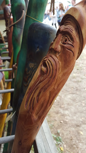 A carved staff at the Ohio Renaissance Festival