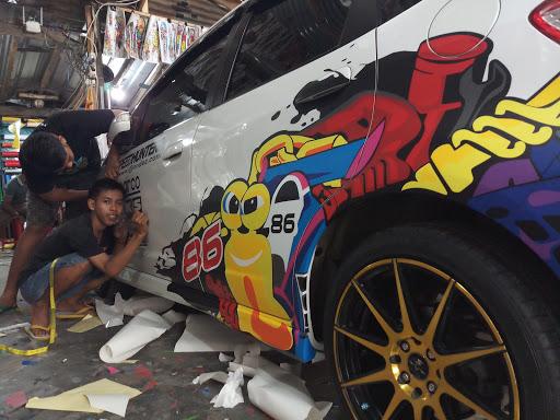 Honda Jazz Cutting Sticker Kartun Turbo