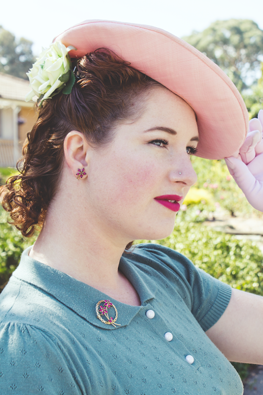 1940s hair and a tilt hat | Lavender & Twill
