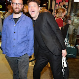 WWW.ENTSIMAGES.COM -   Jamie Lloyd Theatre Director     and  Mat Horne  arriving at       East is East - press night at Trafalgar Studios London October 16th 2014                                                 Photo Mobis Photos/OIC 0203 174 1069