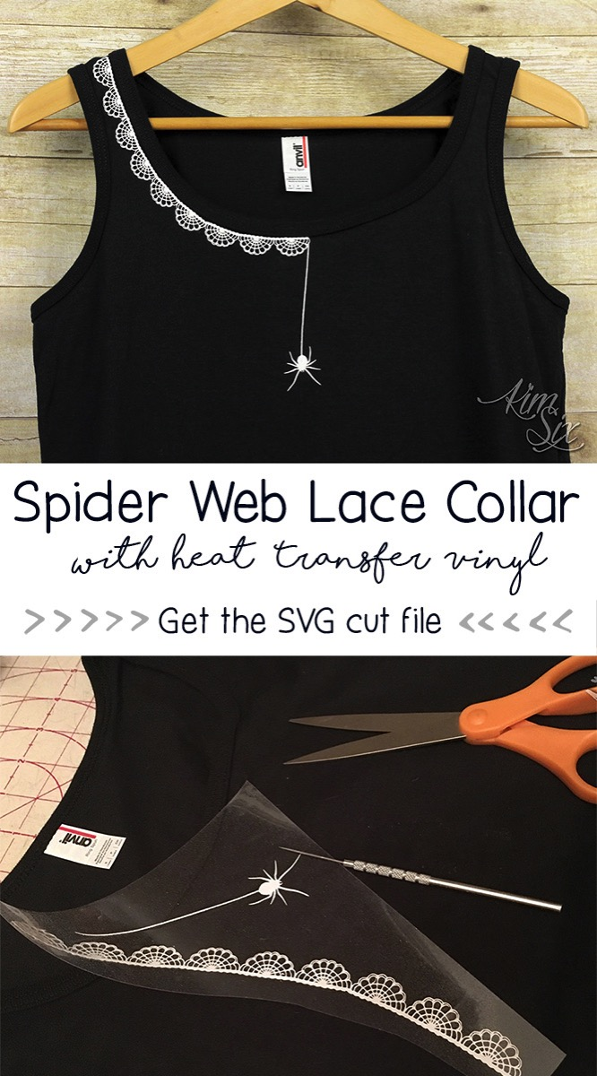 Spider Web Lace Collar Tank Top. So cute!  Would be great at Halloween.  She made it with glitter HTV on a tank top