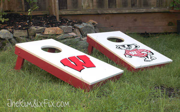 Red and white bean bag game