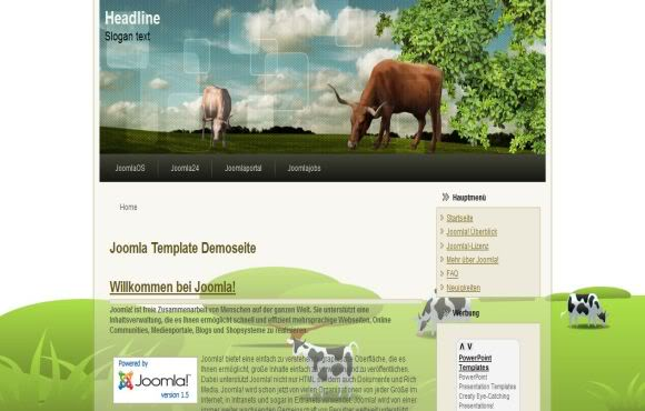 Free Joomla Cow Green Farm Web2.0 Theme Template