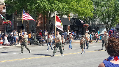 Boy Scout Troop 392 marching in the Grove City, Ohio, Memorial Day Parade