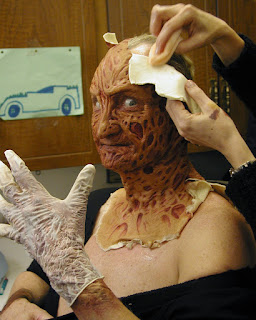 Patricia Murray removes my Freddy Krueger make-up for the last time. Fall 2003.