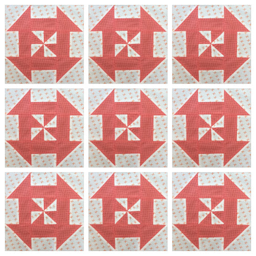 Block 5: Disappearing pinwheel sampler quilt