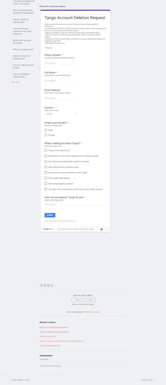 حذف حساب التانجو