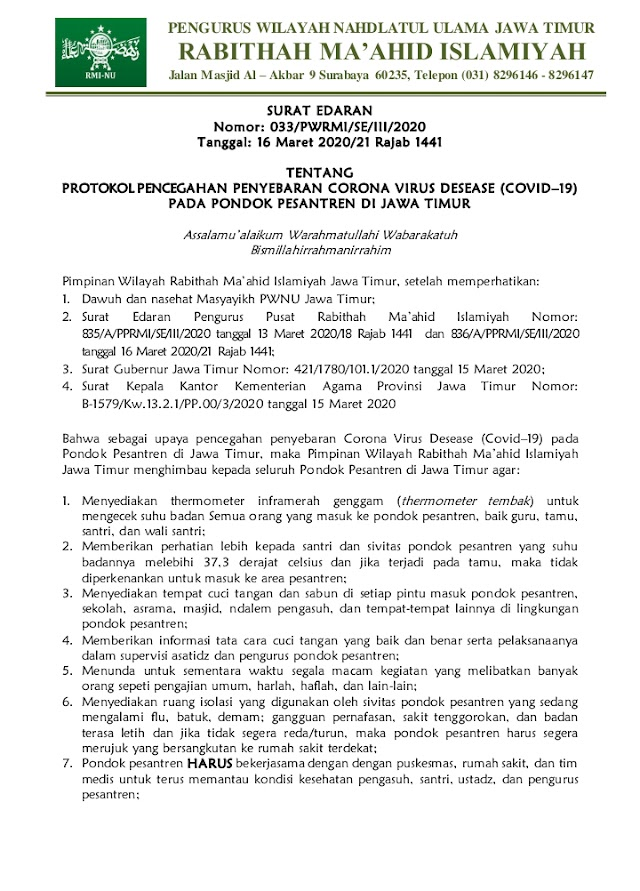 Antisipasi Penyebaran Virus Corona, Berikut Himbauan RMI Jawa Timur
