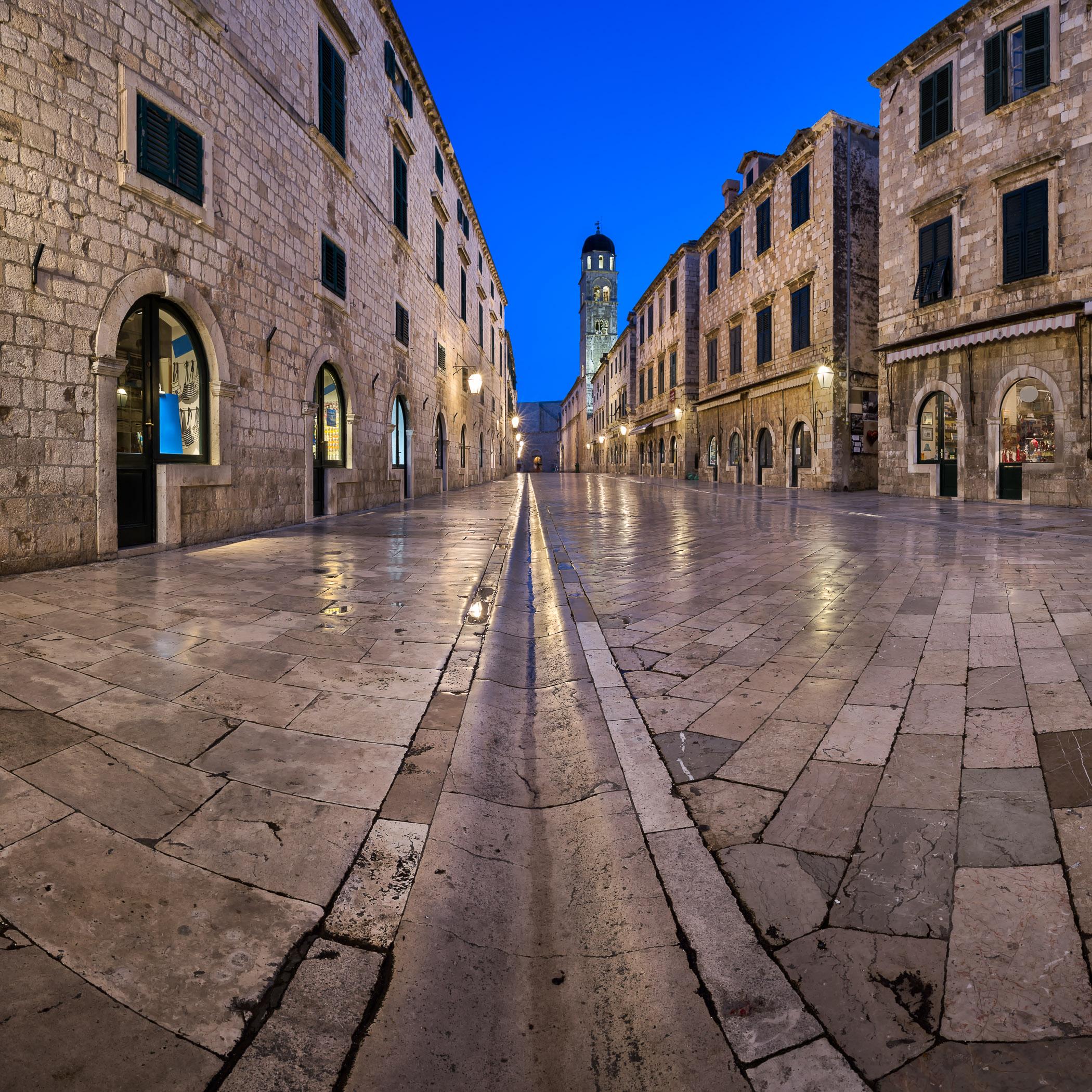 Panorama of Stradun Street in the Morning, Dubrovnik, Dalmatia, Croatia