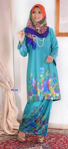 Baju Raya 2014 Baju Kurung Pahang Cotton 3D Biru Turqoise