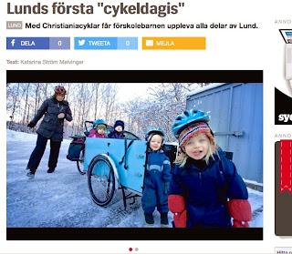 Lund lastcykel Fågel blå förskola