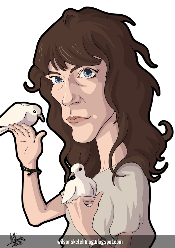 Cartoon caricature of Patti Smith.