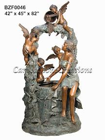 Angel, Bronze, Cherub, Fountain, Statue, Well, Wishing, Women
