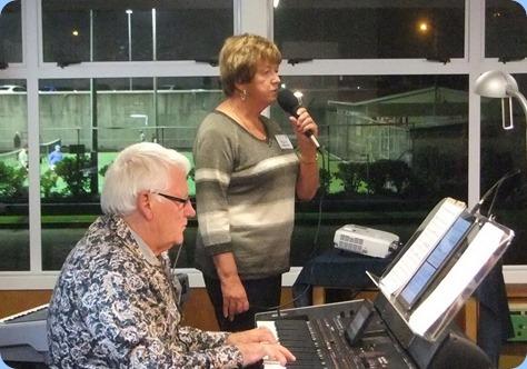 Nelleke Moffat singing with Rod Moffat accompanying on Korg Pa4X. Photo courtesy of Dennis Lyons.
