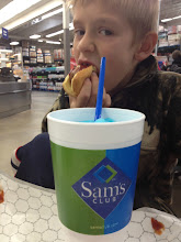 Photo: My little helper came along. He always wants the hot dog and blue slushie. Sam's Club uses Nathan's hot dogs, and they're really affordable. Plus, you don't have to be a member to eat in their snack bar!