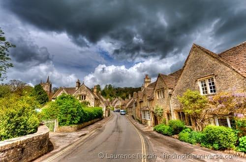 Cotswold village Castle Combe clouds