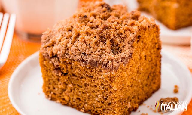 pumpkin spice coffee cake on a plate
