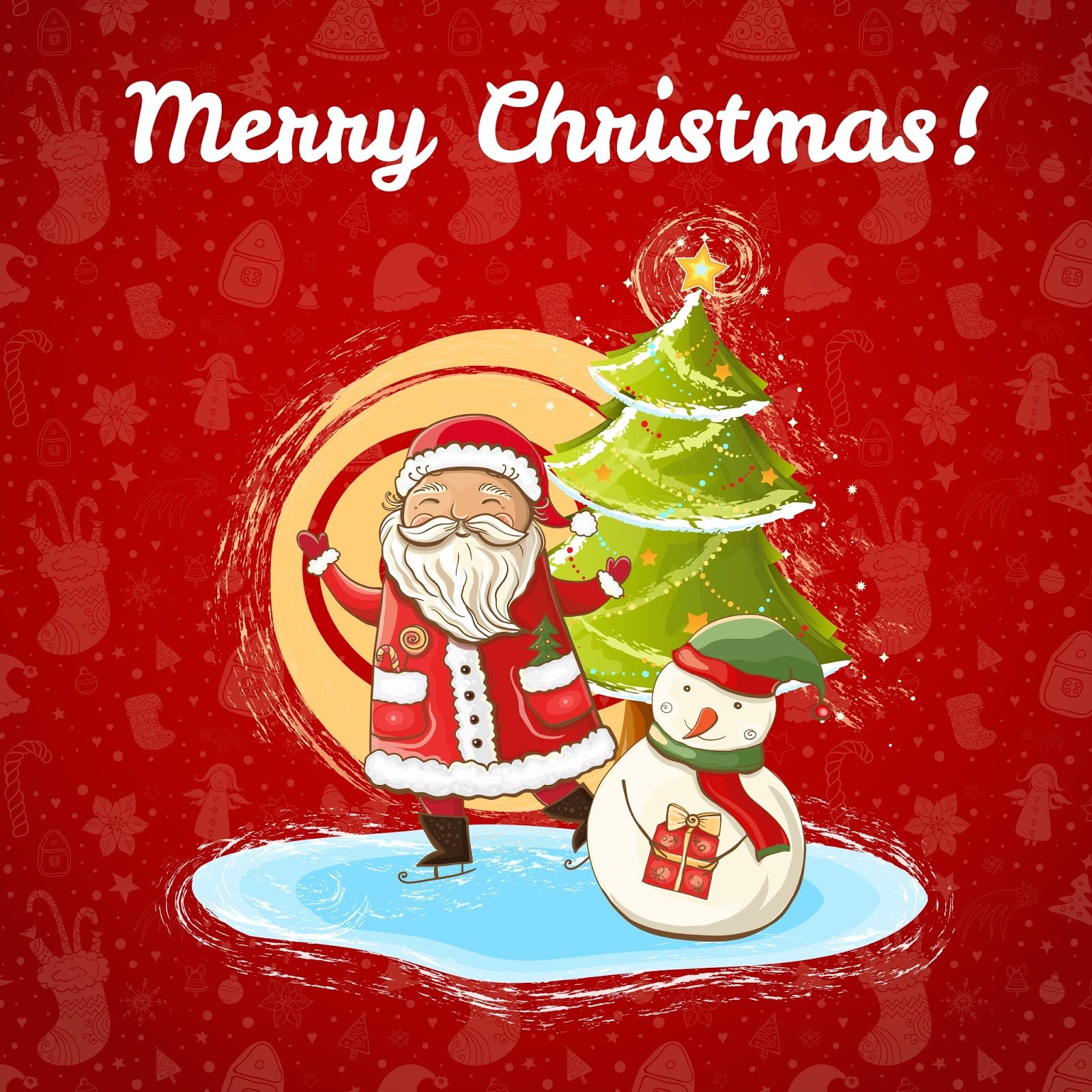 Vector Color Bright Christmas Template With Illustration Happy Santa Claus Snowman Bright Christmas Tree Hand Drawn Free Download Vector CDR, AI, EPS and PNG Formats