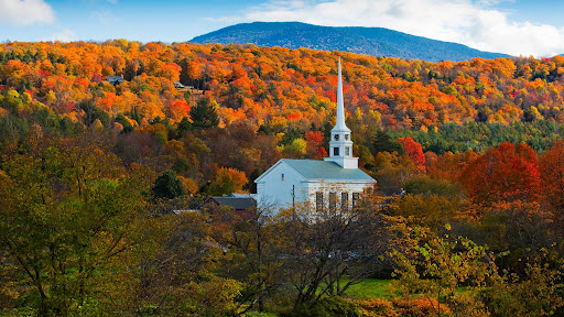 Fall Colors Surround Stowe Church, Stowe, Vermont.jpg