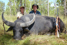 Greg Retschlag and his wife Anne with a fine big old buffalo bull, taken with his single shot 375 H&H.