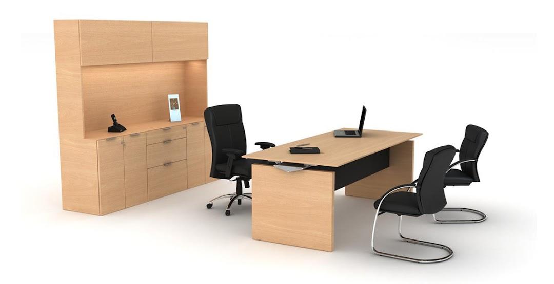 escritorio de madera con hutch