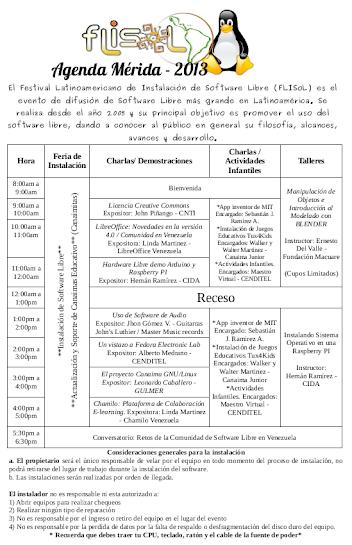 Calendario de actividades FLISOL Merida 2013
