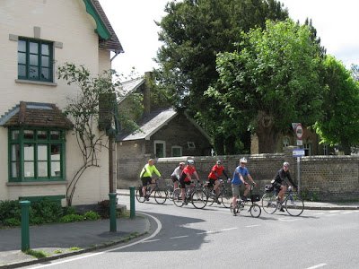 Cyclists approaching junction
