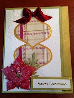 masking, ornament card, inkagold PaperMania First Noel, Spellbinders heirloom ornaments die, Spellbinders poinsettia die