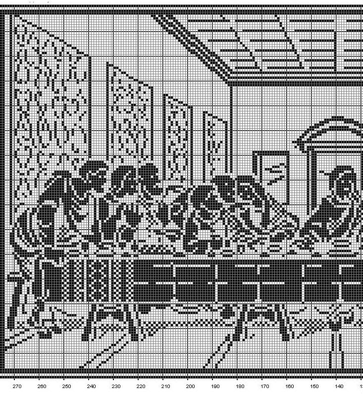This Is The Pattern Of The Last Supper Filet Crochet Tablecloth