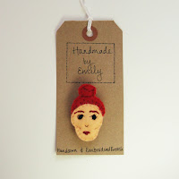 handmade by emily embroidered brooch bun red hair lady felt