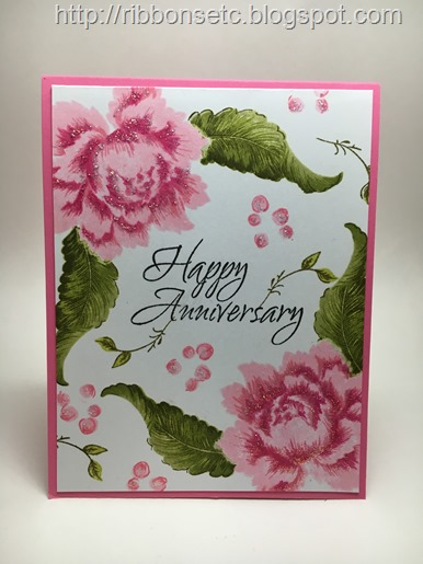Anniversary card with Altenew Peony Bouquet stamps