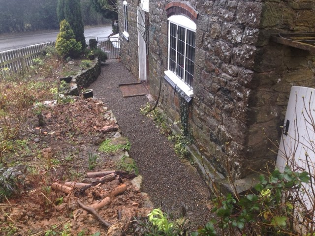 Renovating an old stone cottage french drain complete for Drainage around house
