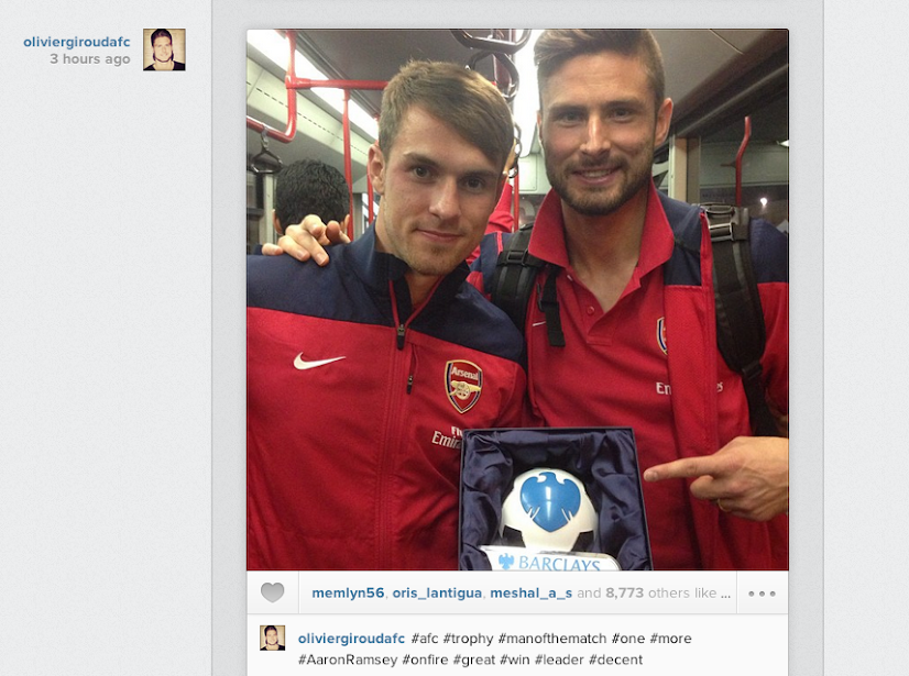 Olivier Giroud posts Instagram picture with Swansea man of the match Aaron Ramsey