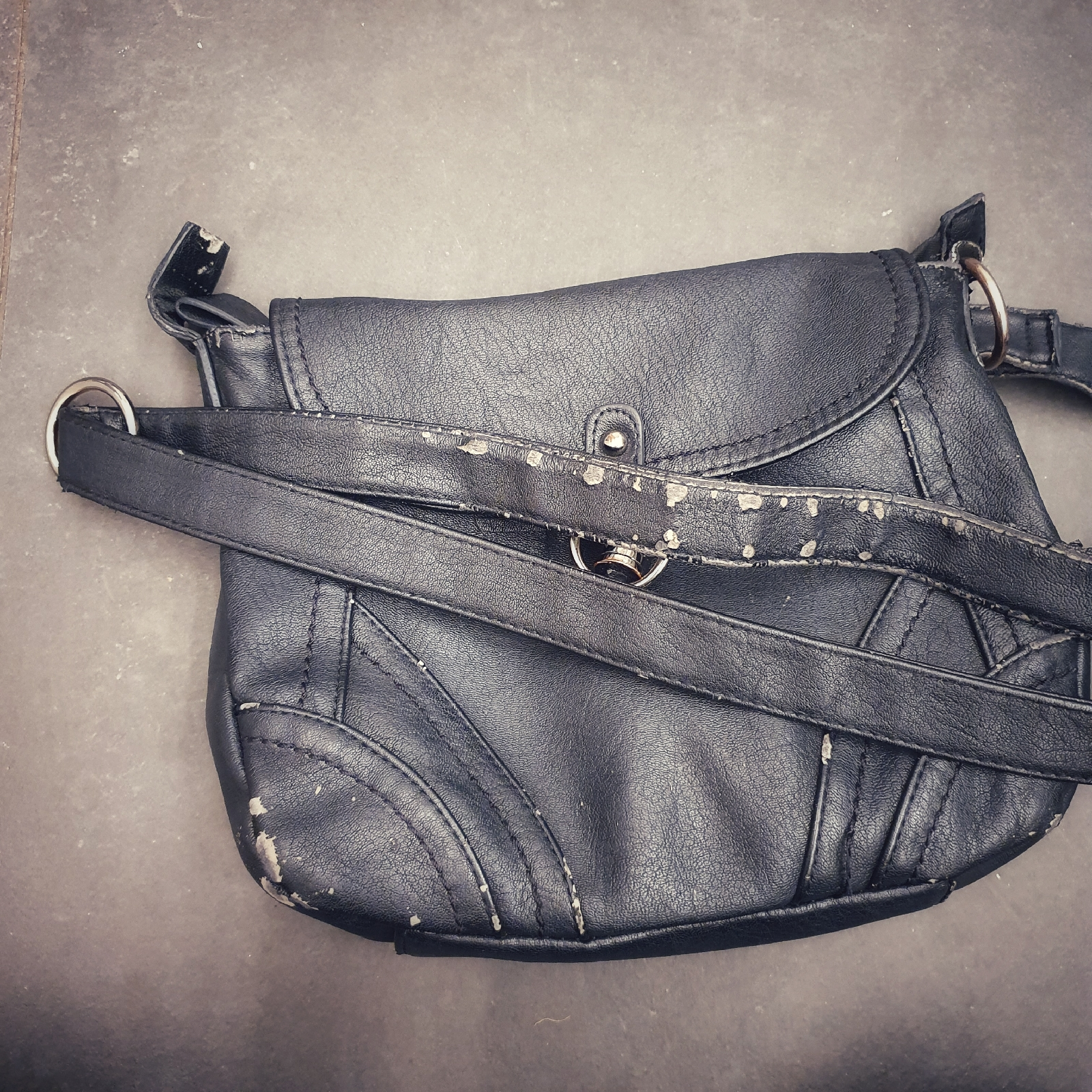 old ugly bag RTW pleather broken down