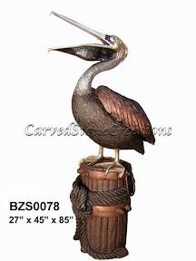 Bronze, Pelican, Standing, Statue