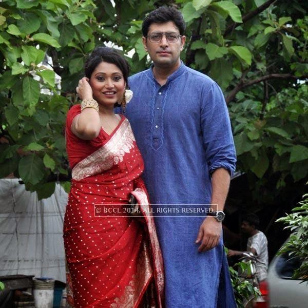 Meghna Halder and Priyangshu Chatterjee during audio launch of Ei Raat Tomar Amar at Kasba, Kolkata.