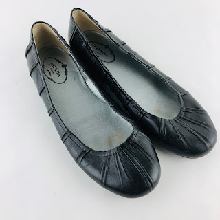 Prada Leather Pleated Flats