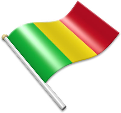The Malian flag on a flagpole clipart image
