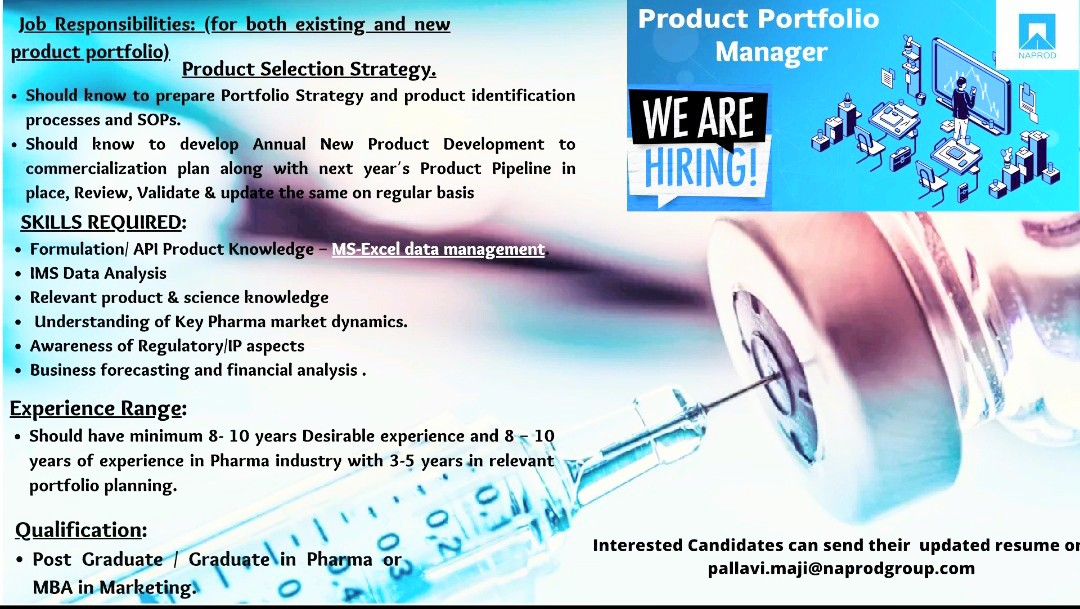 Opening For Portfolio Management (Products Selection Strategy)