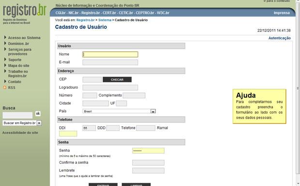 Form de cadastro no Registro.br