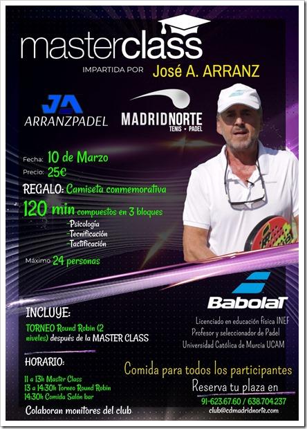 MasterClass a cargo de José A. Arranz en Club Madrid Norte el 10 de marzo de 2018.