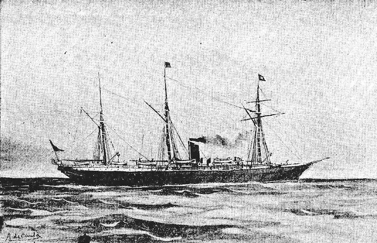 El vapor NUEVO MORTERA. Grabado de Antonio de Caula de la revista LA GRAN VIA, edición de 29 de septiembre de 1895.JPG