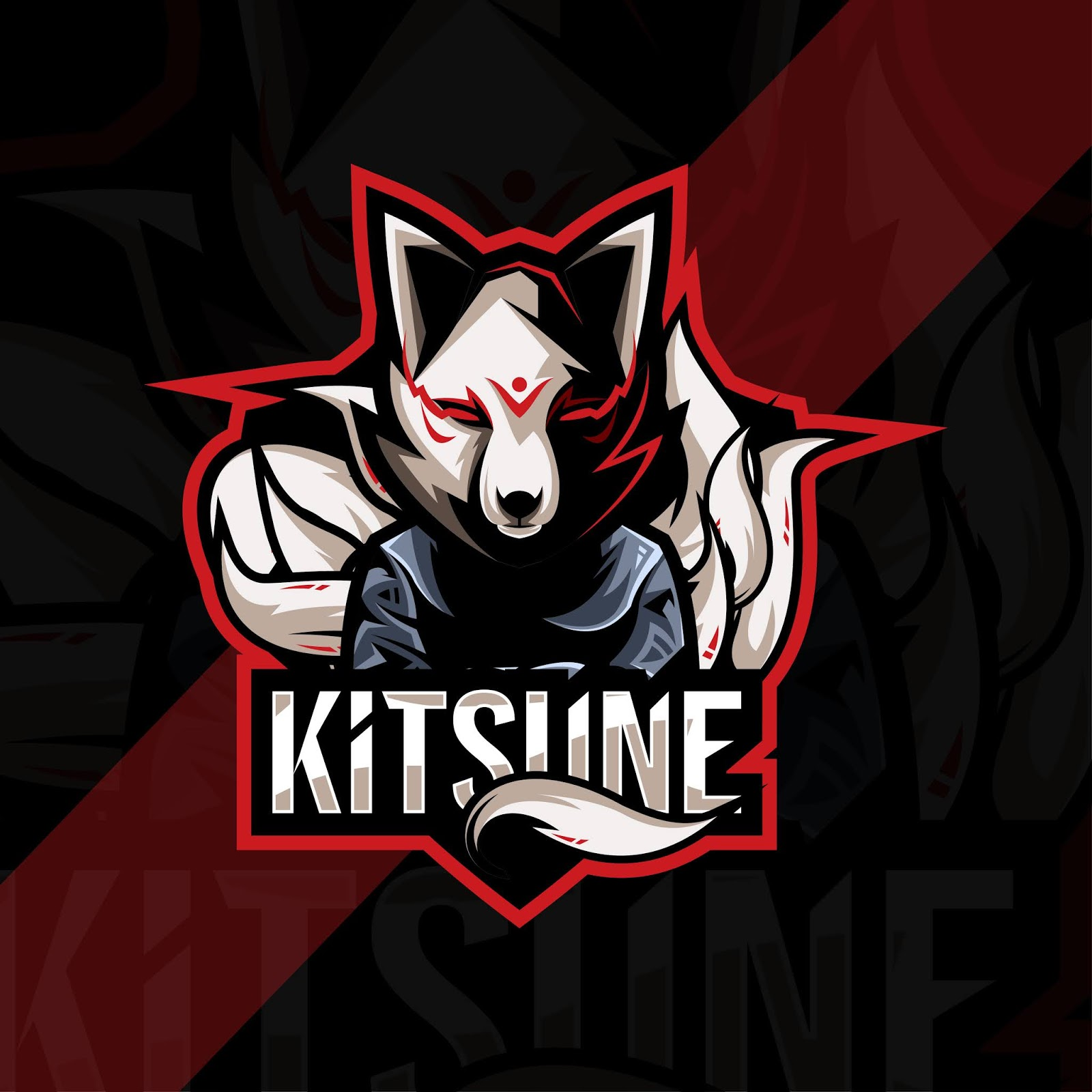 Kitsune Mascot Logo Esport Template Design Free Download Vector CDR, AI, EPS and PNG Formats