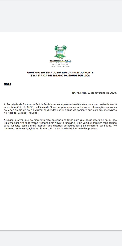 Secretaria de Estado da Saúde Pública do RN emite nota sobre o caso do Novo Coronavírus