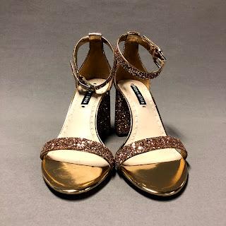Alice & Olivia Lillian Glitter Block-Heel Sandals Gold