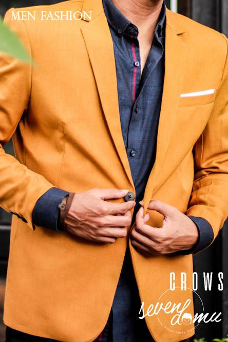 seven domu blazer single button mustard+bk04+ +3