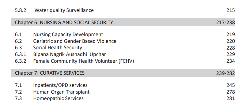Contents of DOHS annual Report
