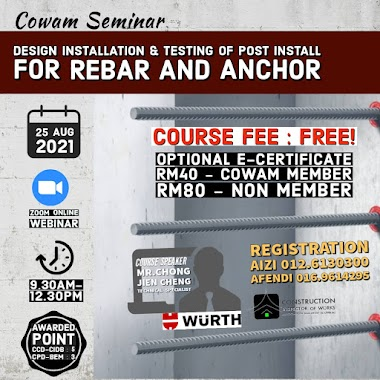 OPEN FOR REGISTRATION ON 05 JULY 2021: Design Installation and Testing of Post Install for REBAR and ANCHOR (WUR/2021)