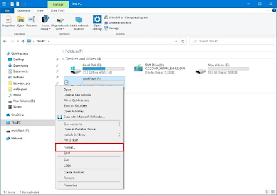 Cara format USB flash drive di Windows 10