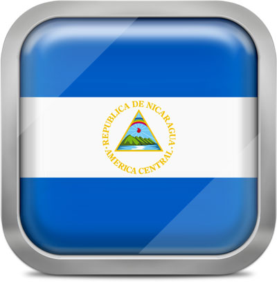 Nicaragua square flag with metallic frame